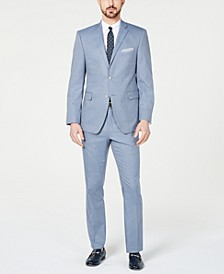 Men's Slim-Fit Stretch Wrinkle-Resistant Light Blue Check Suit