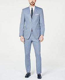 Perry Ellis Men's Slim-Fit Stretch Wrinkle-Resistant Light Blue Check Suit