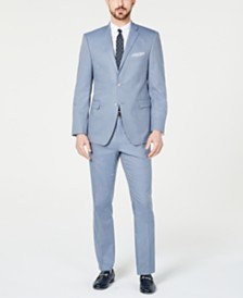 Perry Ellis Men's Slim-Fit Stretch Wrinkle-Resistant Light Blue Check Suit