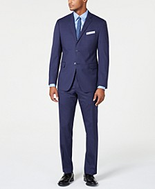 Men's Slim-Fit Stretch Wrinkle-Resistant Medium Blue Check Suit