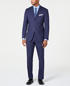 Perry Ellis Men's Slim-Fit Stretch Wrinkle-Resistant Medium Blue Check Suit