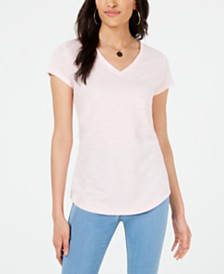 Maison Jules Striped V-Neck Top, Created for Macy's