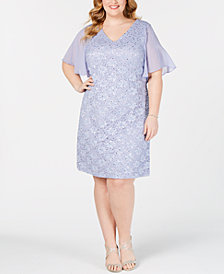Connected Plus Size Embellished Lace Dress