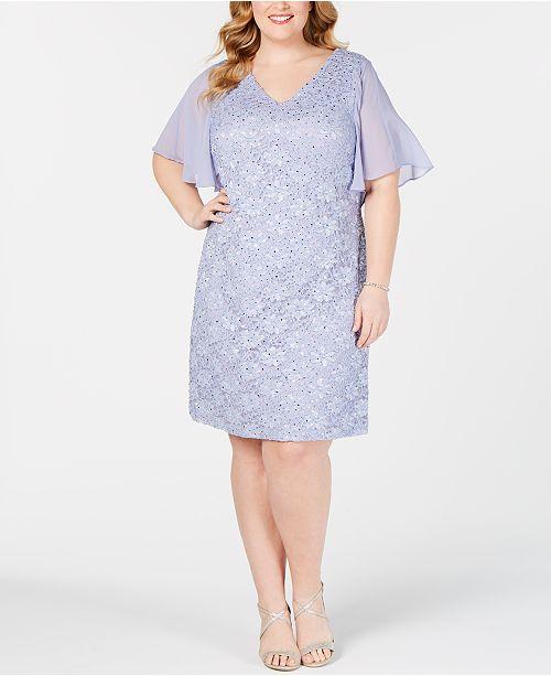 Plus Size Embellished Lace Dress