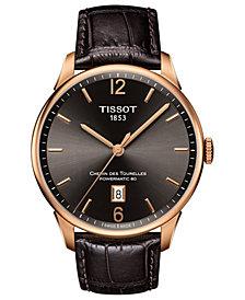 Tissot Men's Swiss Automatic T-Classic Chemin des Tourelles Brown Leather Strap Watch 42mm