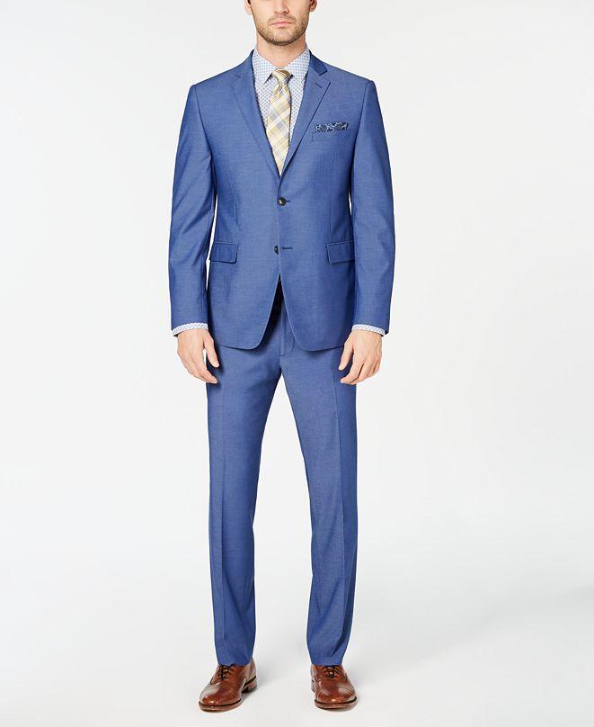Perry Ellis Men's Slim-Fit Stretch Wrinkle-Resistant Solid Textured Suit