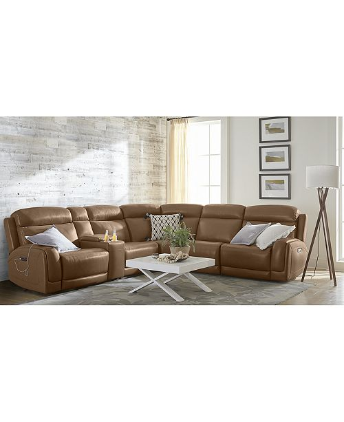 Furniture Winterton Leather & Fabric Power Reclining Sectional Sofa ...