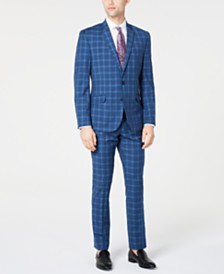 Billy London Men's Slim-Fit Performance Stretch Blue Plaid Suit