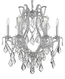 Versailles 6-Light Wrought Iron and Crystal Plug-In Chandelier