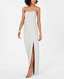Metallic-Knit Strapless Gown