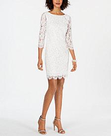 Adrianna Papell Long-Sleeve Lace Sheath Dress