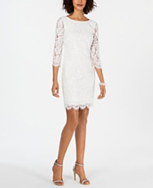 Adrianna Papell Long-Sleeve Lace Sheath Dress