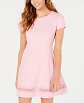 28310a95c56 B Darlin Juniors  Short-Sleeve Lace-Trim Fit   Flare Dress