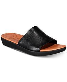 핏플랍 솔라 슬라이드 샌들 - 블랙 FitFlop Sola Slide Sandals,Black Leather