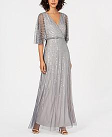 Beaded Kimono-Sleeve Gown