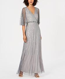 Adriana Papell Beaded Kimono-Sleeve Gown