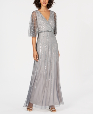 Image of Adriana Papell Beaded Kimono-Sleeve Gown