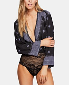 Free People Printed Plunging Bell-Sleeve Bodysuit