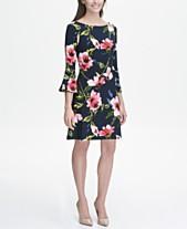 1489b62a5e8ba Tommy Hilfiger Printed Jersey Bell Sleeve A-line Dress