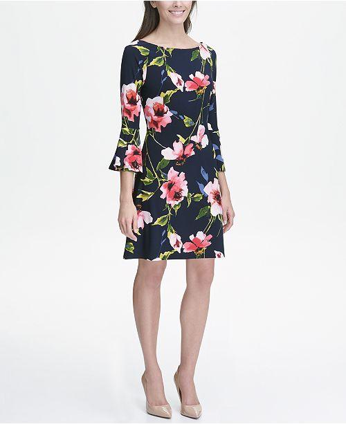 Macys Outlet Nj: Tommy Hilfiger Printed Jersey Bell Sleeve A-line Dress