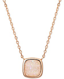 """Pink Druzy Pendant Necklace in 18k Rose Gold-Plated Sterling Silver, 16"""" + 2"""" extender"""