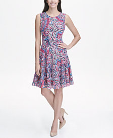 Tommy Hilfiger Fresco Paisley Fit and Flare Dress