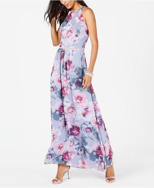 SL Fashions Floral & Metallic Maxi Dress