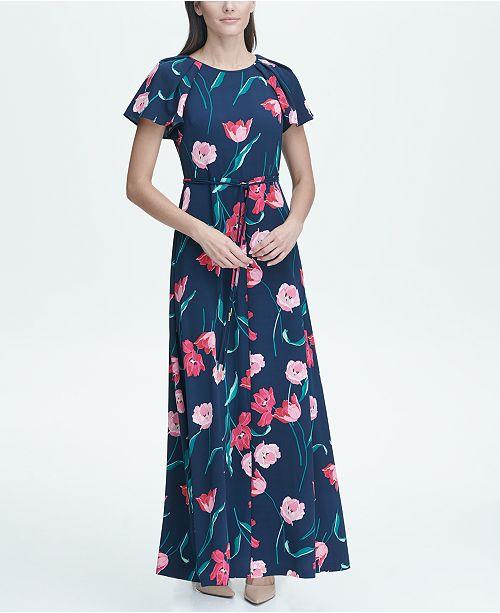 Tommy Hilfiger Tulip Double Twill Slit Maxi Dress