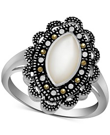 Marcasite & Mother-of-Pearl Antique-Look Ring in Fine Silver-Plate