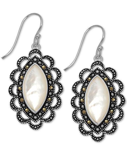 Macy's Marcasite & Mother-of-Pearl Drop Earrings in Fine Silver-Plate