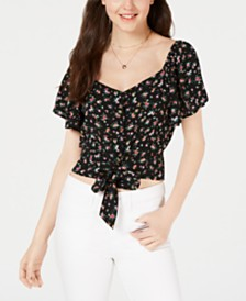 Gypsies & Moondust Juniors' Printed Tie-Front Blouse