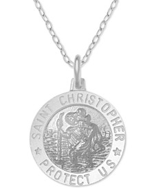 "St Christopher Medallion 18"" Pendant Necklace in Sterling Silver"