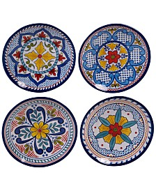 Certified International Capri Isle Assorted Melamine Tidbit Plates, Set of 4