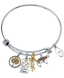 Mom Charm Bangle Bracelet in Stainless Steel & Tri-Tone