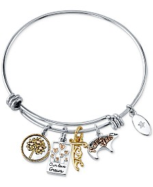 Unwritten Mom Charm Bangle Bracelet in Stainless Steel & Tri-Tone
