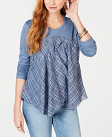 Style & Co Mixed-Media Scoop-Neck Top, Created for Macy's