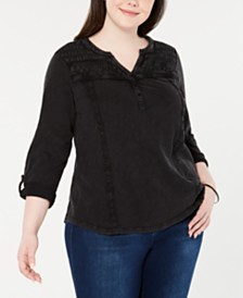 Style & Co Plus Size Crochet-Trim Top, Created for Macy's