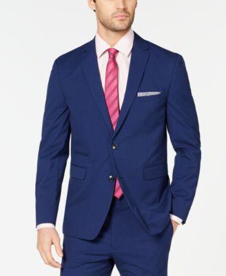 Men's Slim-Fit Stretch Wrinkle-Resistant Blue Check Suit Jacket