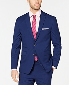Men's Slim-Fit Stretch Wrinkle-Resistant Blue Check Suit Jacket