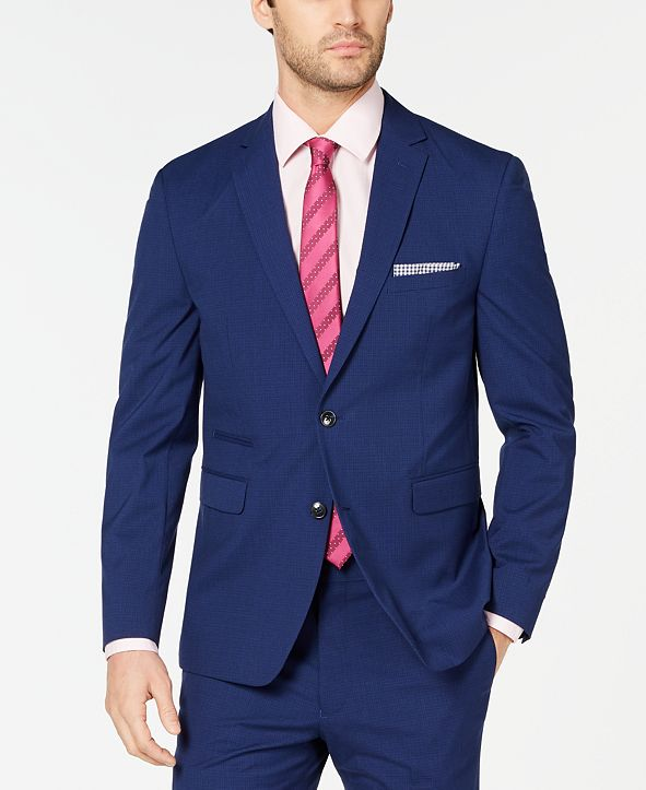 Vince Camuto Men's Slim-Fit Stretch Wrinkle-Resistant Blue Check Suit Jacket