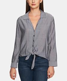 1.STATE Striped Tie-Hem Shirt