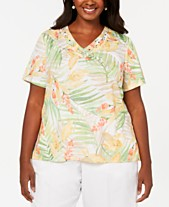 338d9345457 Alfred Dunner Plus Size Endless Weekend Tropical Leaves Embellished T-Shirt