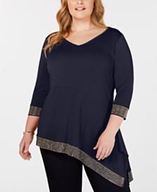 Belldini Black Label Plus Size Embellished Asymmetrical Tunic