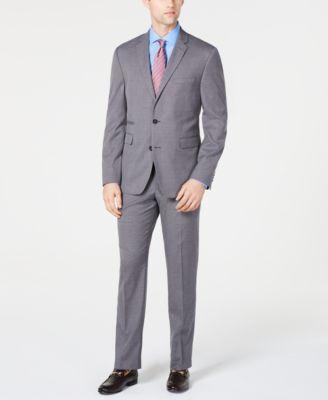 Men's Slim-Fit Stretch Wrinkle-Resistant Gray Textured Solid Suit Jacket