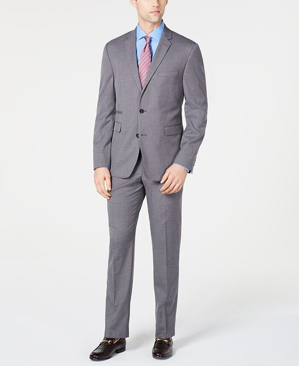 Vince Camuto Men's Slim-Fit Stretch Wrinkle-Resistant Gray Textured Solid Suit Separates
