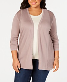 Belle by Belldini Plus Size Pointelle Open-Front Cardigan