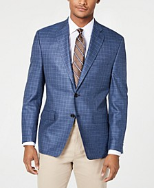 Men's Classic-Fit UltraFlex Stretch Blue Check Sport Coat
