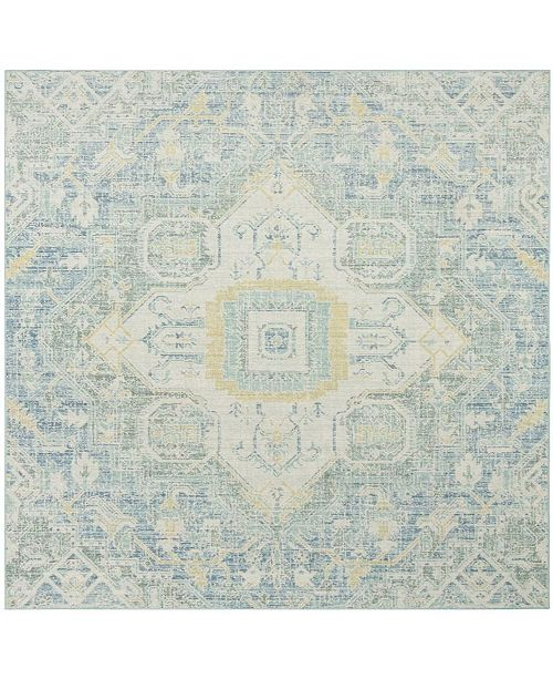 Safavieh Windsor Blue and Lime 6' x 6' Square Area Rug