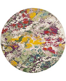 """Safavieh Watercolor Light Green and Rose 6'7"""" x 6'7"""" Round Area Rug"""