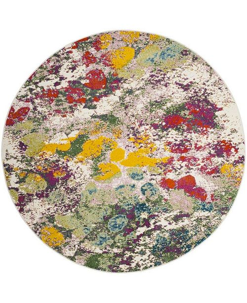 "Safavieh Watercolor Light Green and Rose 6'7"" x 6'7"" Round Area Rug"